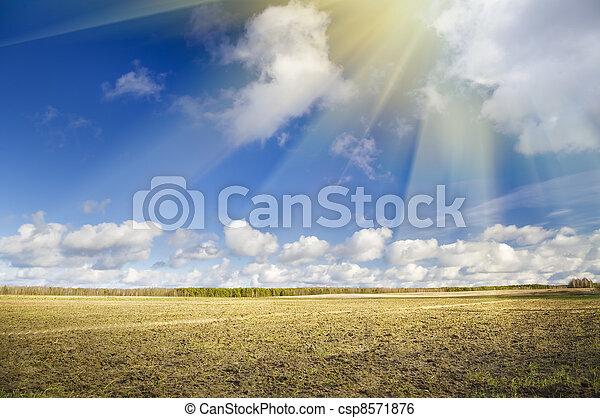 plough plowed brown clay soil field - csp8571876