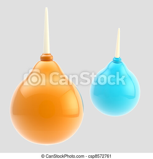 Medical blue and orange enema isolated on grey - csp8572761