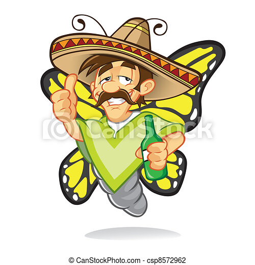 Cartoon sombrero drunken butterfly - csp8572962