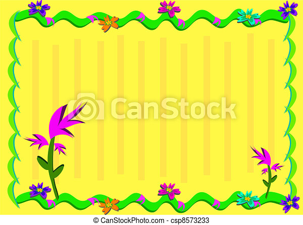 Frame with Tropical Plants and Stri - csp8573233
