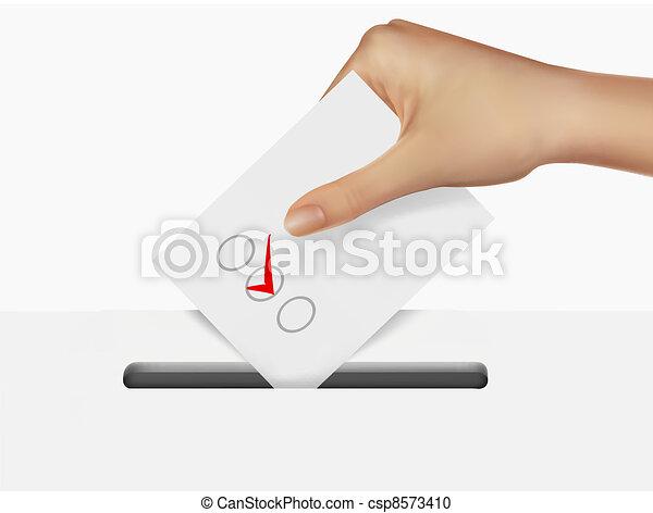 Hand putting a voting ballot - csp8573410