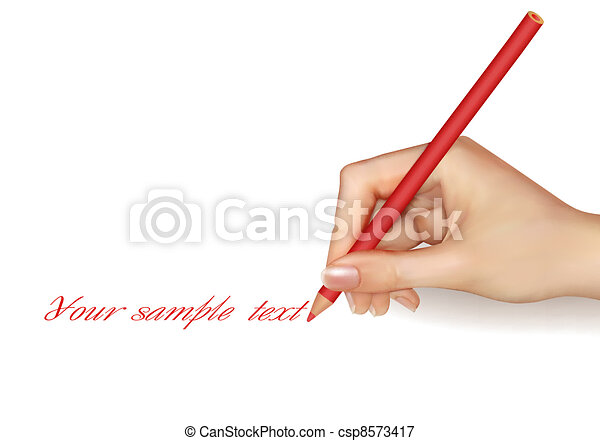 Hand with pen writing on paper.  - csp8573417