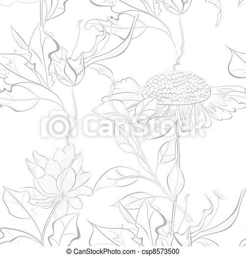 Monochrome seamless wallpaper - csp8573500