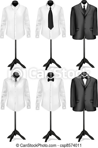 Black suit and white shirt  - csp8574011