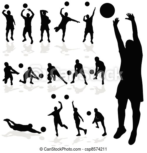 volleyball player black silhouette in various poses - csp8574211