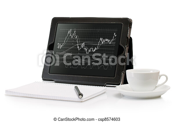 Digital Tablet with a stock chart - csp8574603