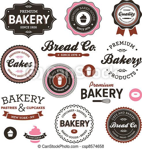 årgång, bageri, etiketter - csp8574658