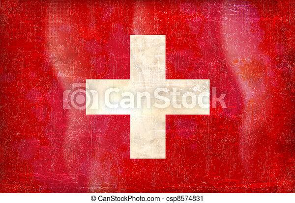 vector grunge styled flag of switzerland - csp8574831