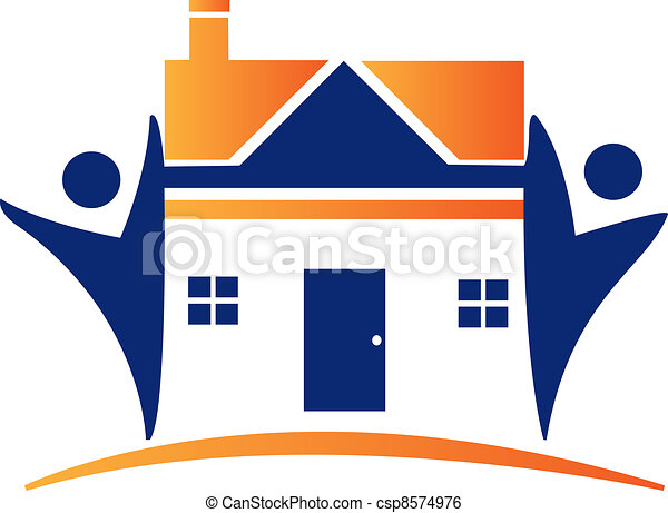 houses and figures logo - csp8574976