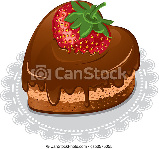 Clipart Vector of Chocolate heart - Chocolate cake in the ...