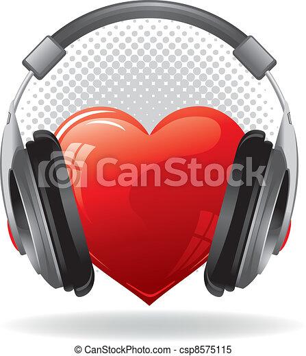 Heart with headphones - csp8575115