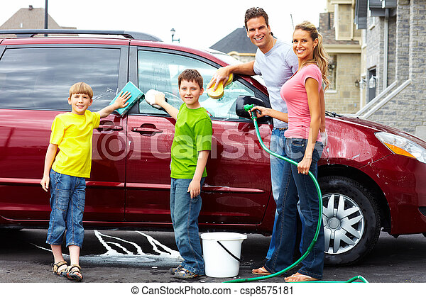 Happy family washing the family car. - csp8575181