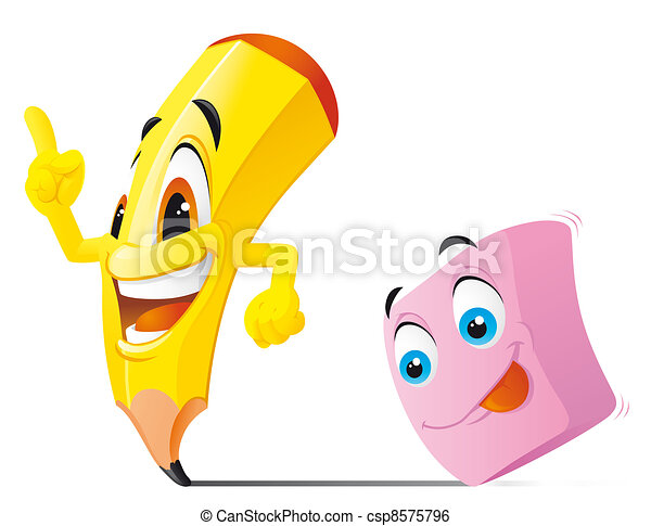 Pencil and eraser cartoon characters - csp8575796