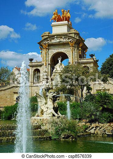 fountain and cascade in park De la Ciutadella in barcelona, spain, catalonia - csp8576339