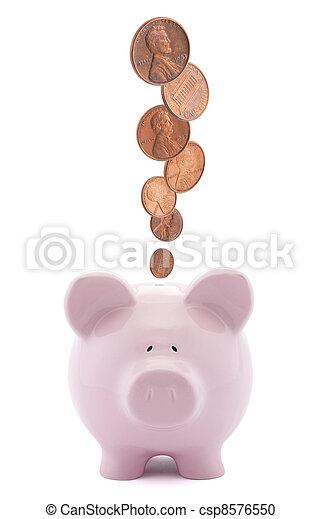 Piggy bank with coins - csp8576550