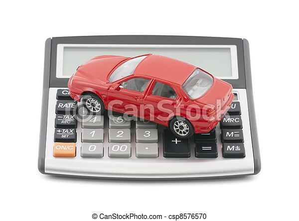 Calculator and red toy car  - csp8576570