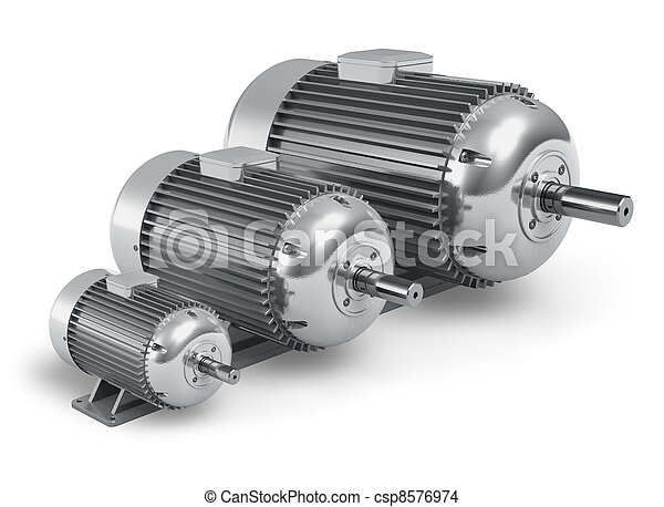 Set of different industrial electric motors - csp8576974