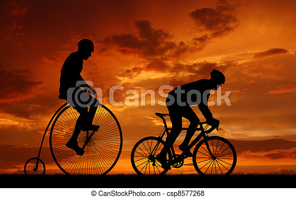 silhouette cyclists on bicycles - csp8577268