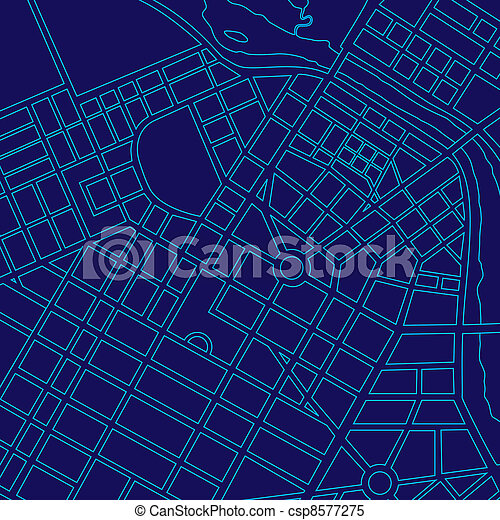 Blue digital map of a generic city - csp8577275