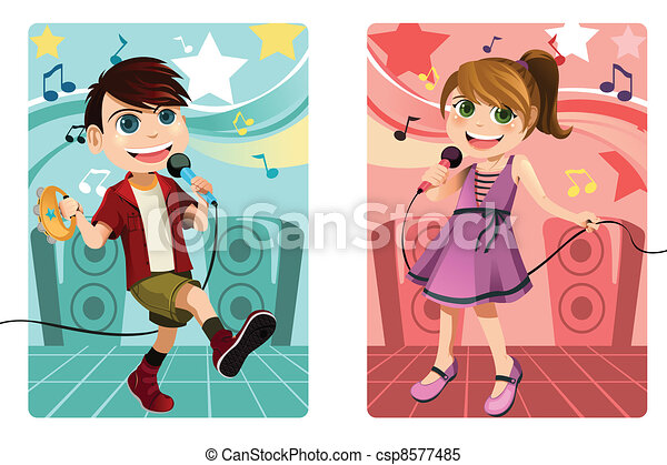 Kids singing karaoke - csp8577485
