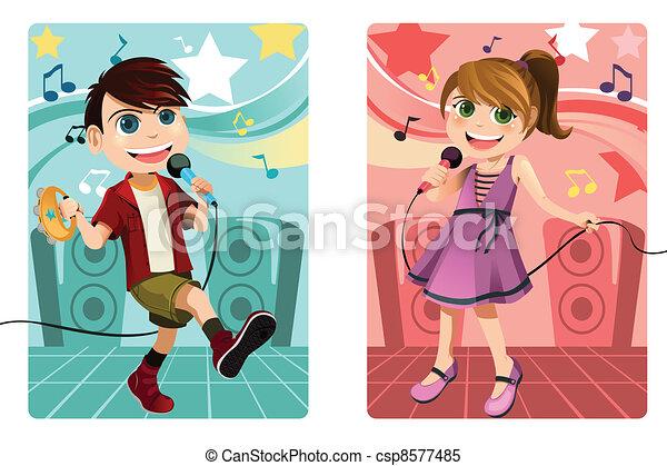 Kids singing karaoke - csp8577485