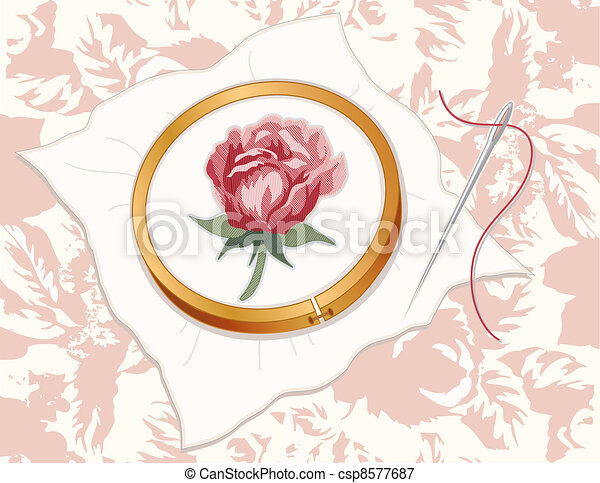Red Damask Rose Embroidery - csp8577687