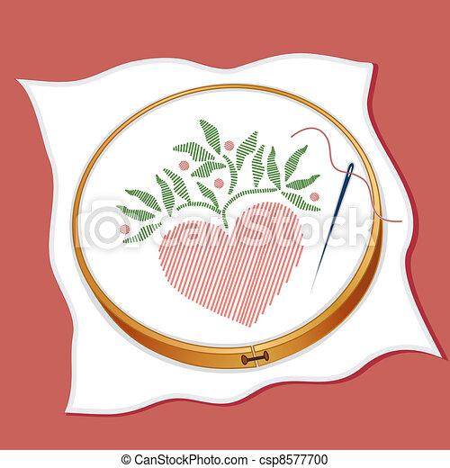 Folk Art Style Embroidery - csp8577700