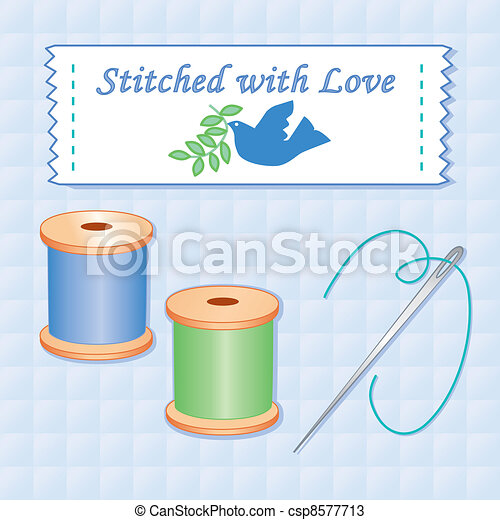 Stitched with Love, Needle, Thread - csp8577713