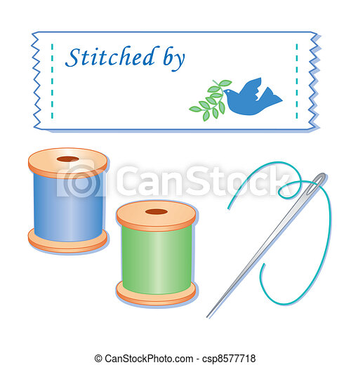Sewing Label, Needle and Threads - csp8577718