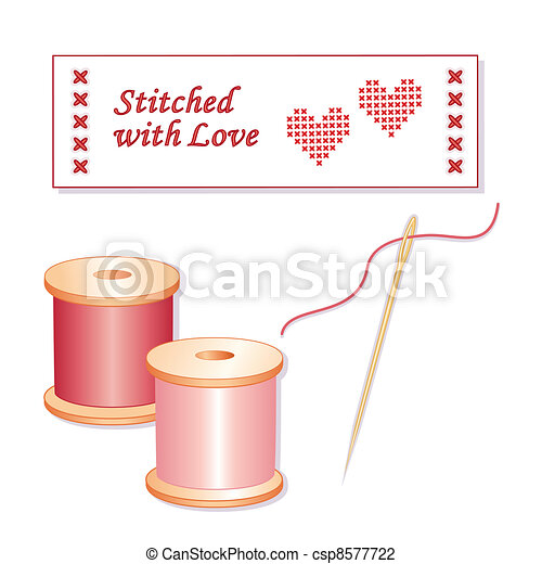 Stitched with Love, Needle, Thread - csp8577722
