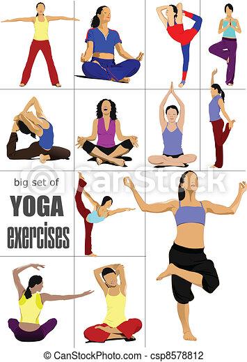 Big set of Yoga exercises - vector - csp8578812