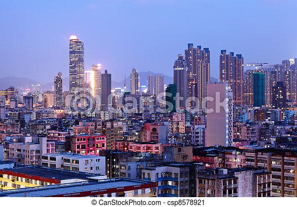 Hong Kong crowded urban - csp8578921