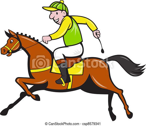 Cartoon Jockey And Horse Racing Side - csp8579341