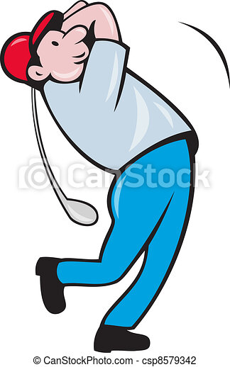 Clip Art of Cartoon Golfer Golfing Swinging Golf Club - Illustration ...