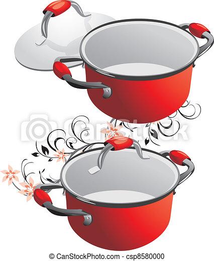 Clipart vecteur de deux vide rouges casseroles vecteur - Casserole dessin ...