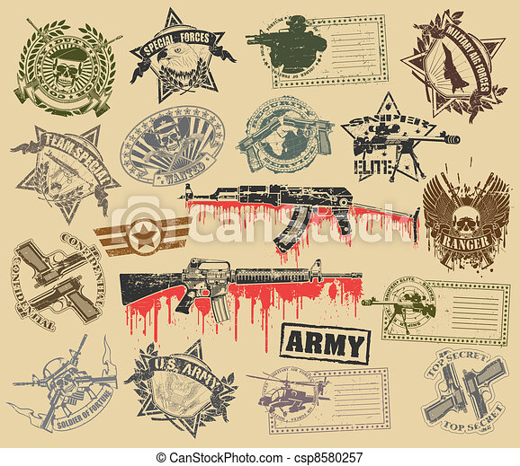 Set of stamps of military symbols - csp8580257