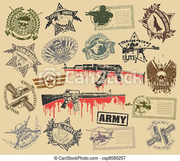 Set of stamps of military symbols - csp8580257