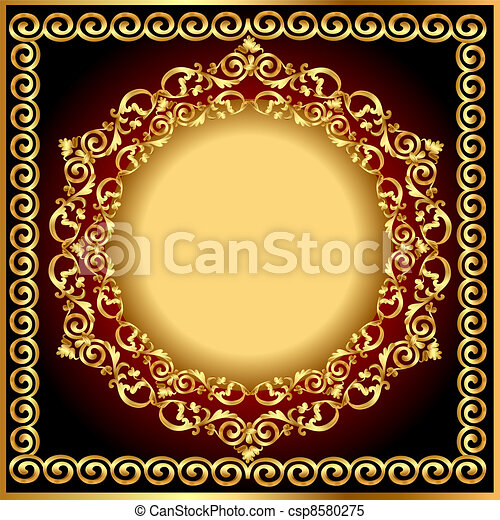 background frame with circular gold(en) drawing - csp8580275