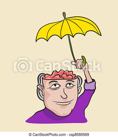Creative concept of mind care and protection. Metaphor artistic illustration - csp8580569