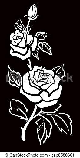 Vector graphic art of Rose flower w - csp8580601