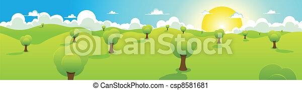 Cartoon Spring Or Summer Landscape Header - csp8581681