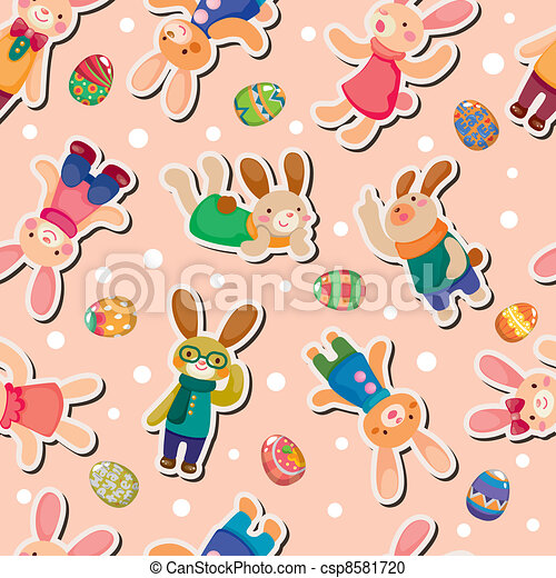 Easter rabbit and egg seamless pattern - csp8581720