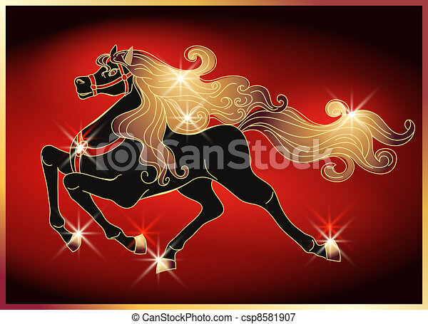 Galloping horse with a gold mane - csp8581907