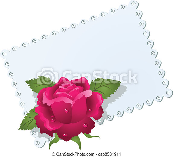 Lace napkin and rose - csp8581911
