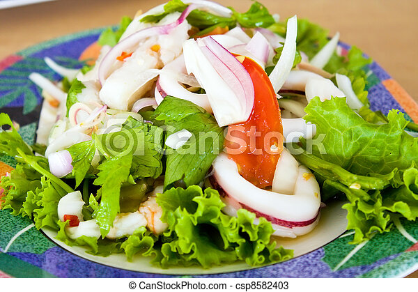 Close up spicy Thai seafood salad - csp8582403