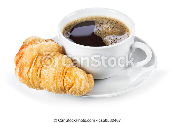 cup of coffee and croissant - csp8582467