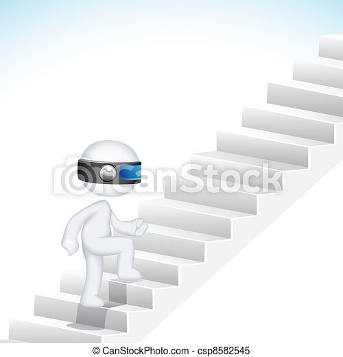 3d Business Man climbing Stair - csp8582545