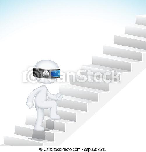 3d Business Man climbing Stair - csp8582545