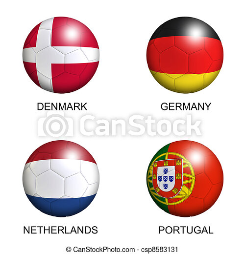 soccer balls with european flags of group B euro 2012 over white background - csp8583131