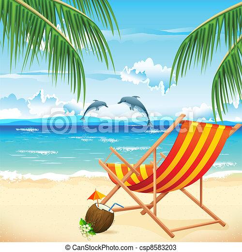 vecteurs de chaise plage illustration de chaise sur plage fond csp8583203. Black Bedroom Furniture Sets. Home Design Ideas